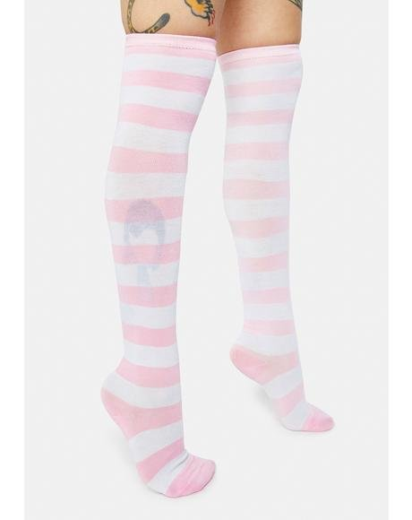 Blush Playful Lane Striped Thigh High Socks