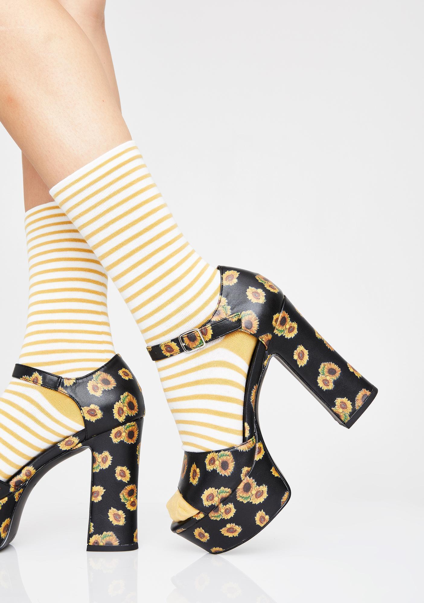 Current Mood Sunflower Haven Platform Sandals