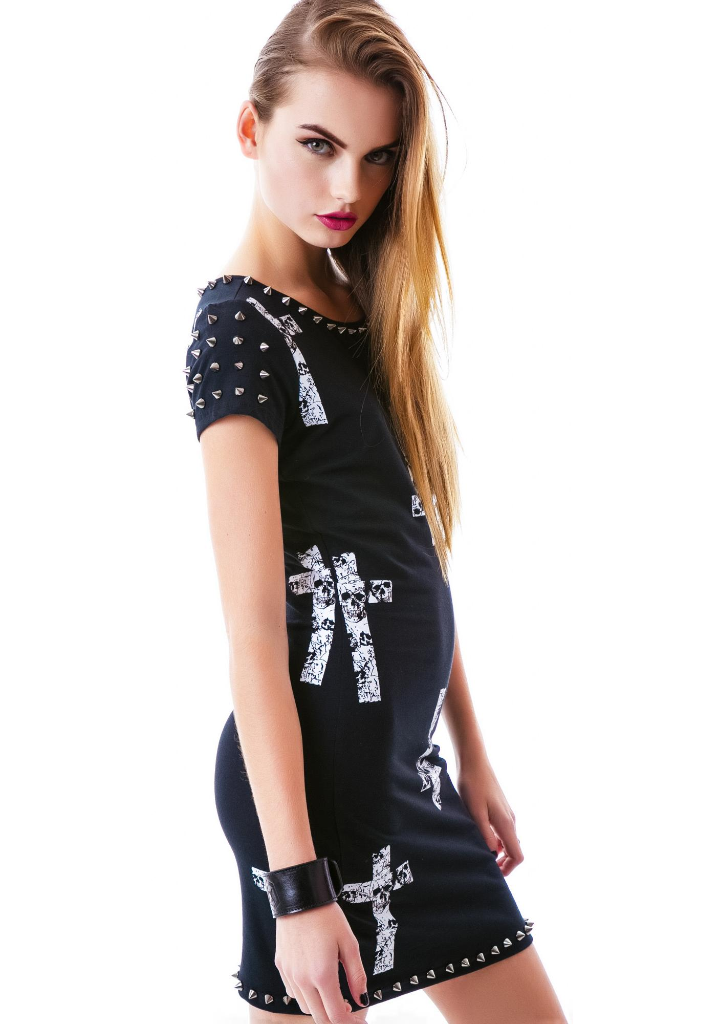 Crossed Skull Studded Dress