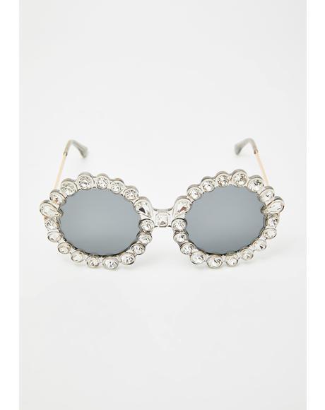 Spinning Round Rhinestone Sunglasses