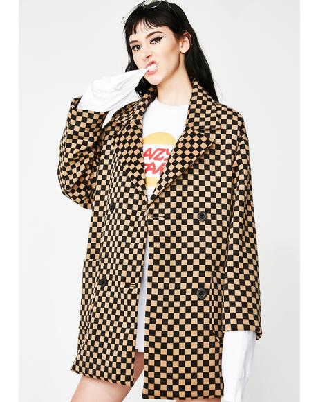 Oversize Check Pea Coat