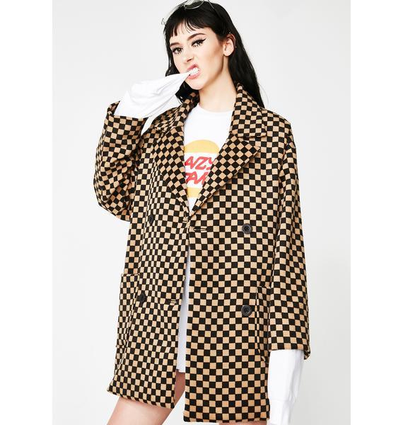 Lazy Oaf Oversize Check Pea Coat