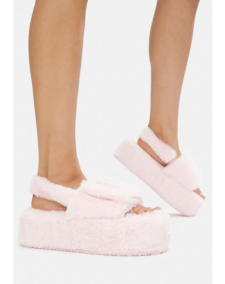 Blush Quickie Fur Sandals