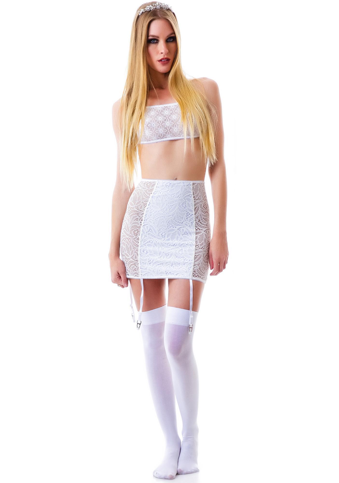 For Love & Lemons Lil Kitten Floral Slip Skirt