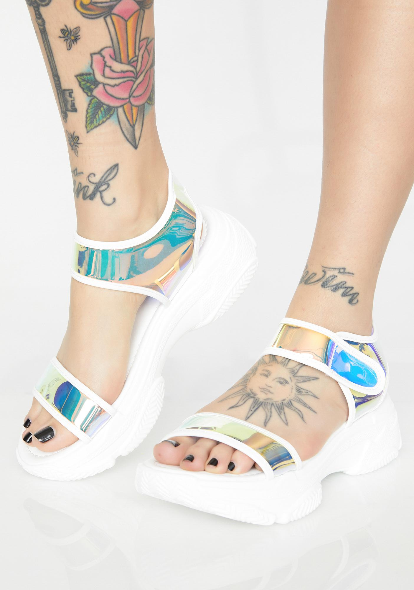 0fe43d3cf Holographic Chunky Sandals | Dolls Kill