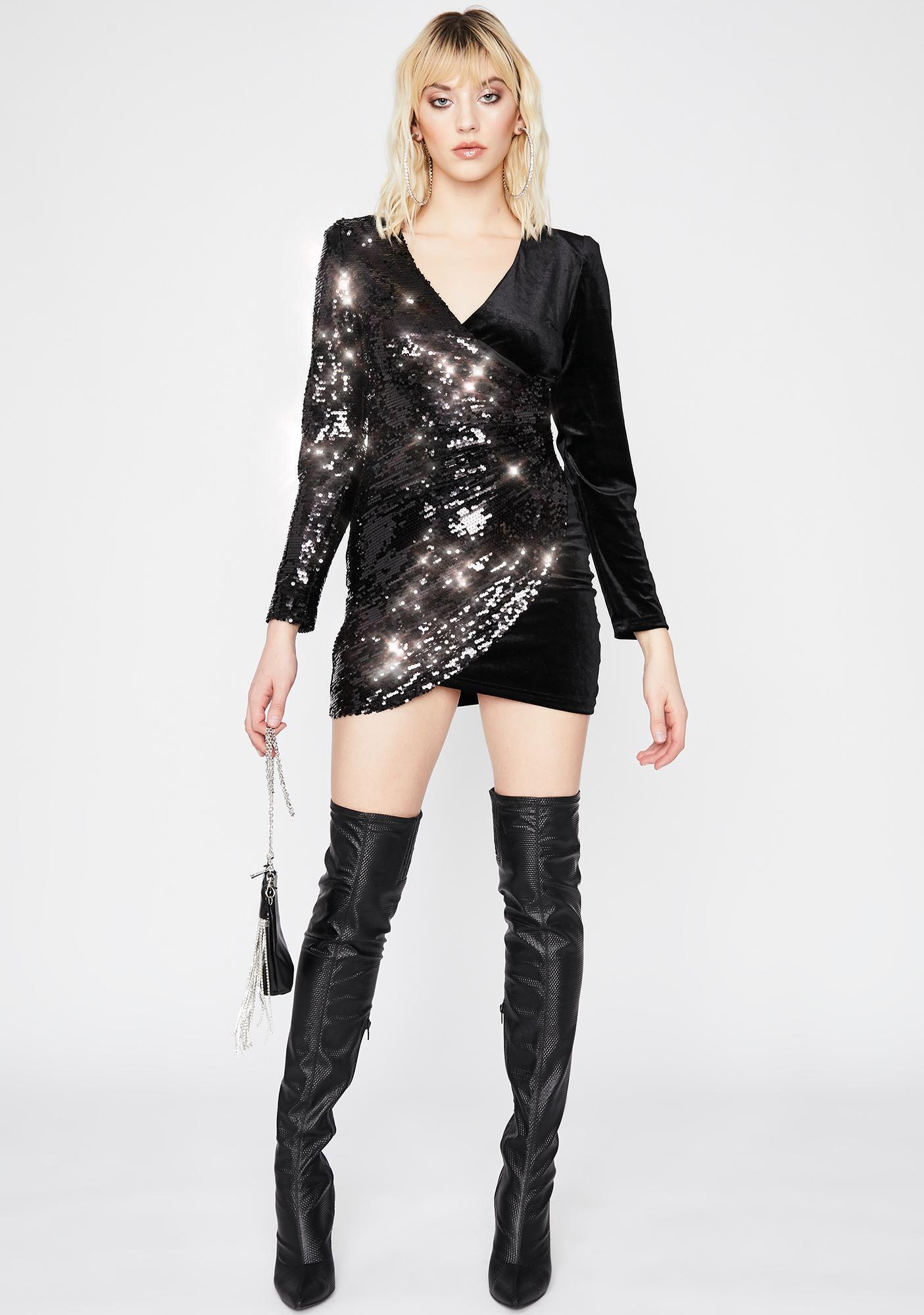 Dark Game Of Chance Velvet Dress