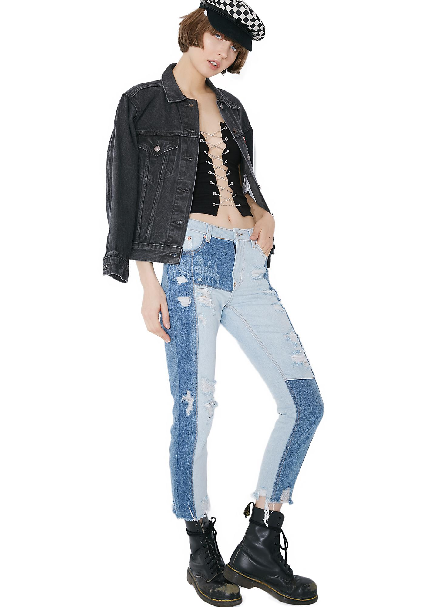 Patchwork Punk Distressed Jeans