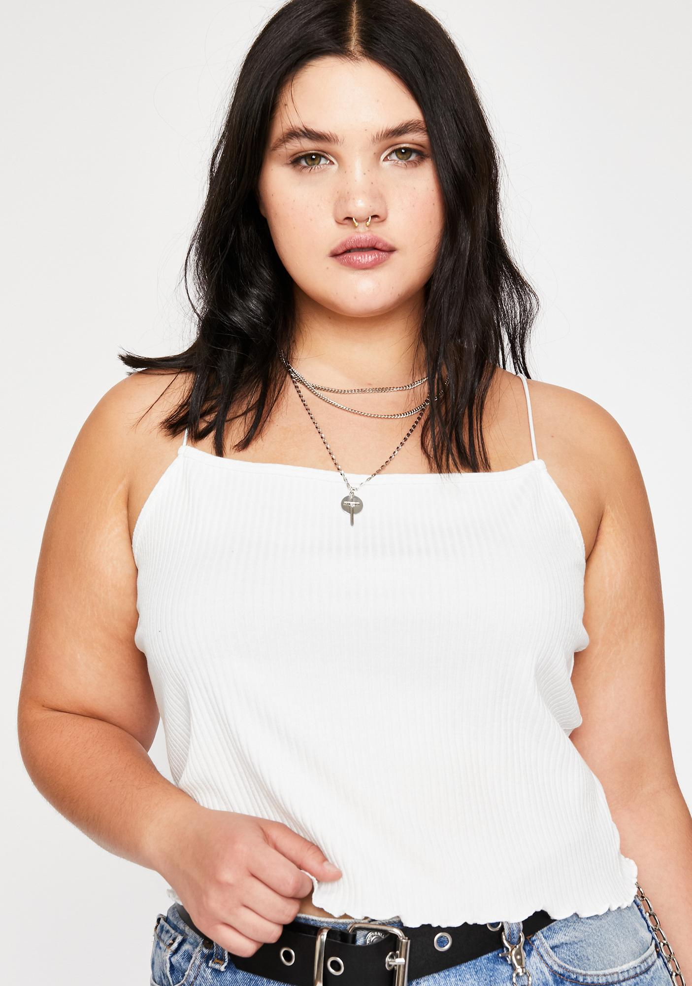 7faa20ac6 Plus Size Current Mood Tank Crop Top Ribbed Ruffle Off White | Dolls ...