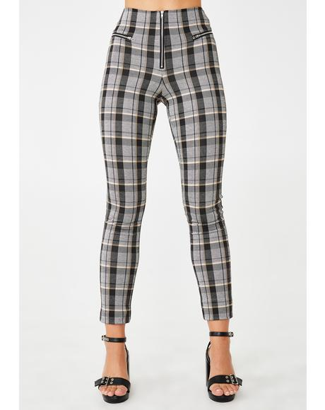 Neutral Check Pearl Pants