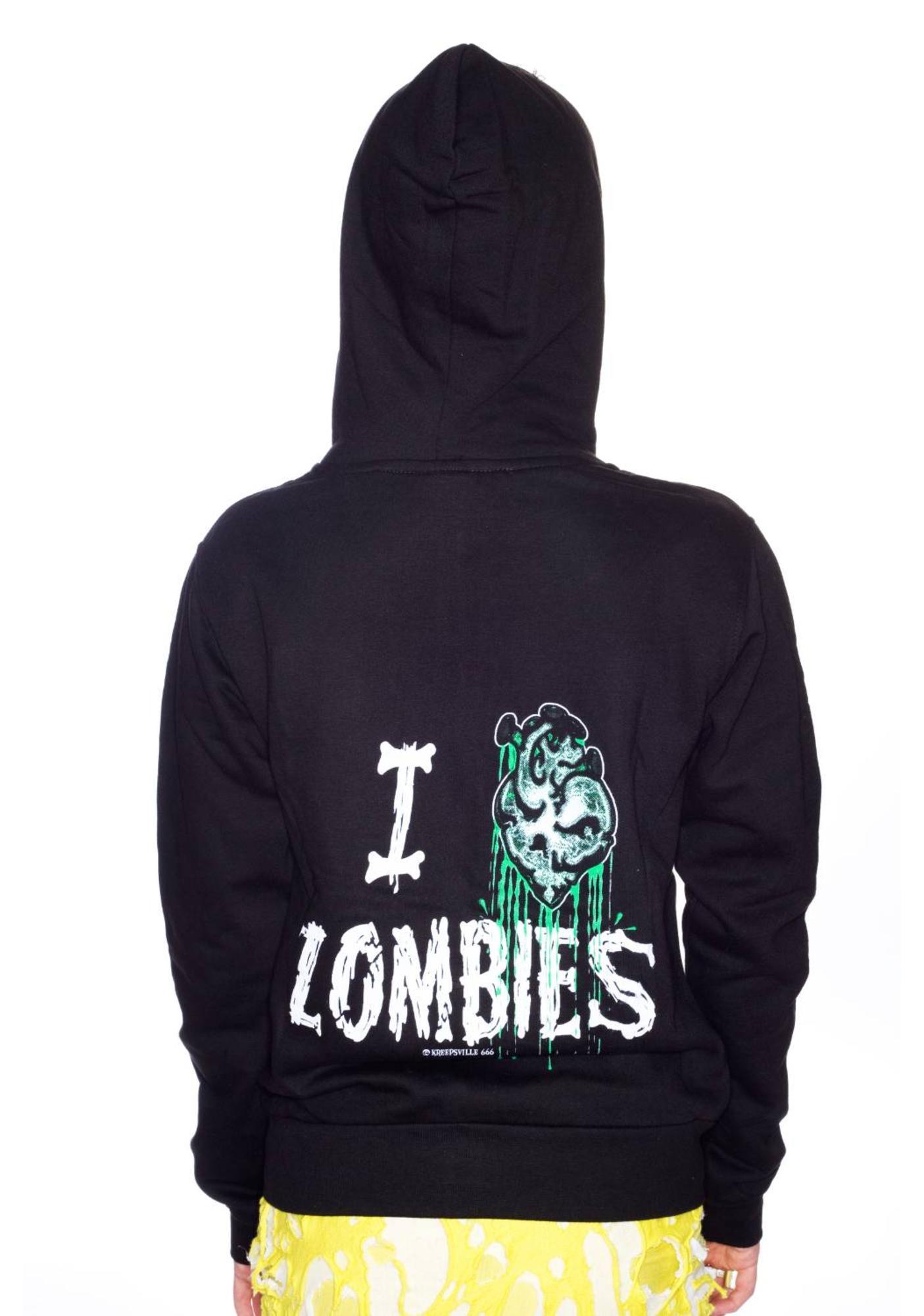 Kreepsville 666 I Heart Zombies Hoodie