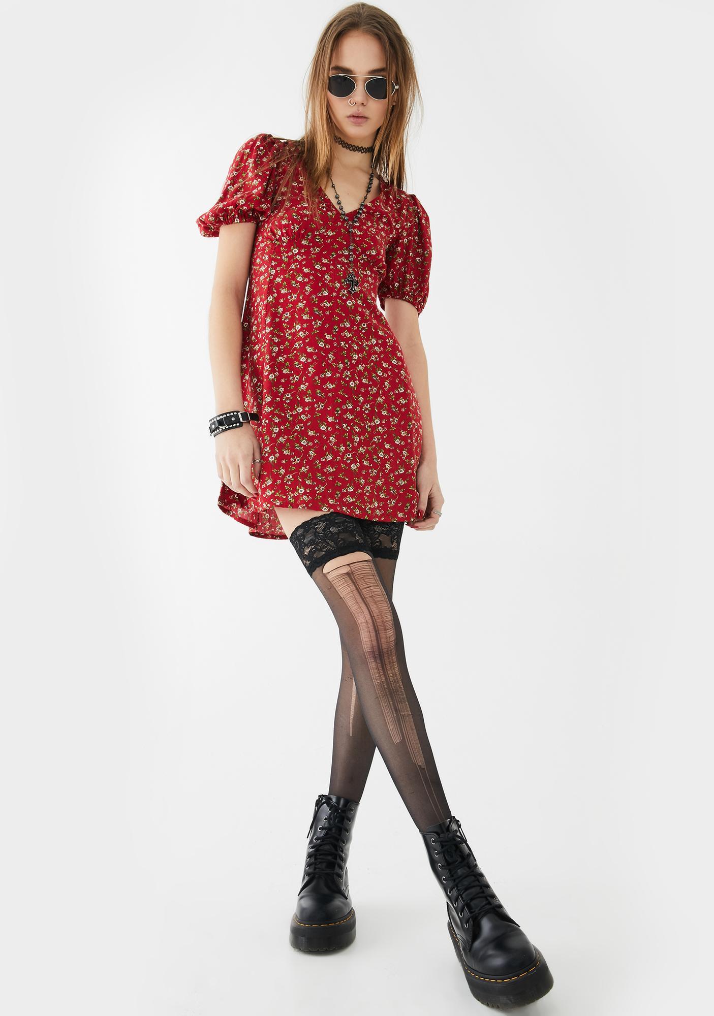 Motel Red Floral Elfira Dress