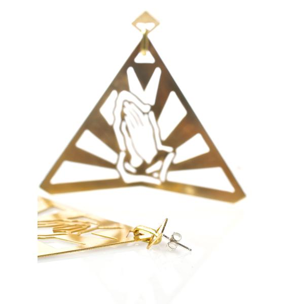 Vittrock Praying Hands 6 God Knocker Earrings