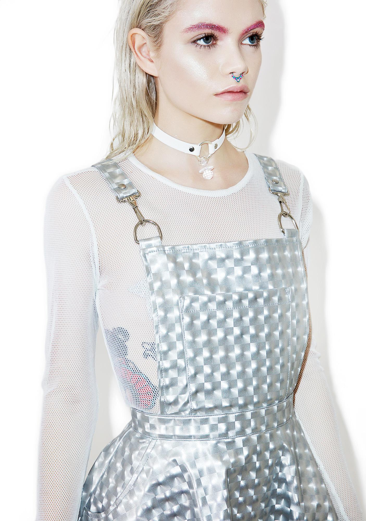 Burners Club Exx Hologram Overall Dress | Dolls Kill