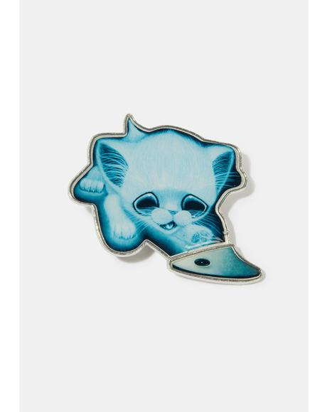 Sugar Fueled Ghost Cat Enamel Pin