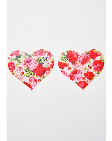 Rose Print Heart Pasties