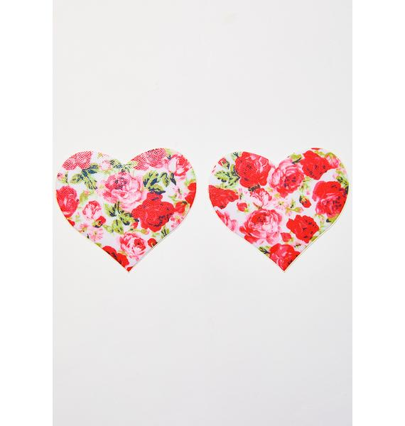 Pastease Rose Print Heart Pasties