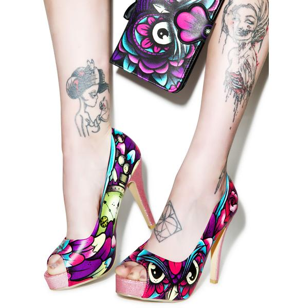 Iron Fist What A Hoot Peep Toe Platform Heels