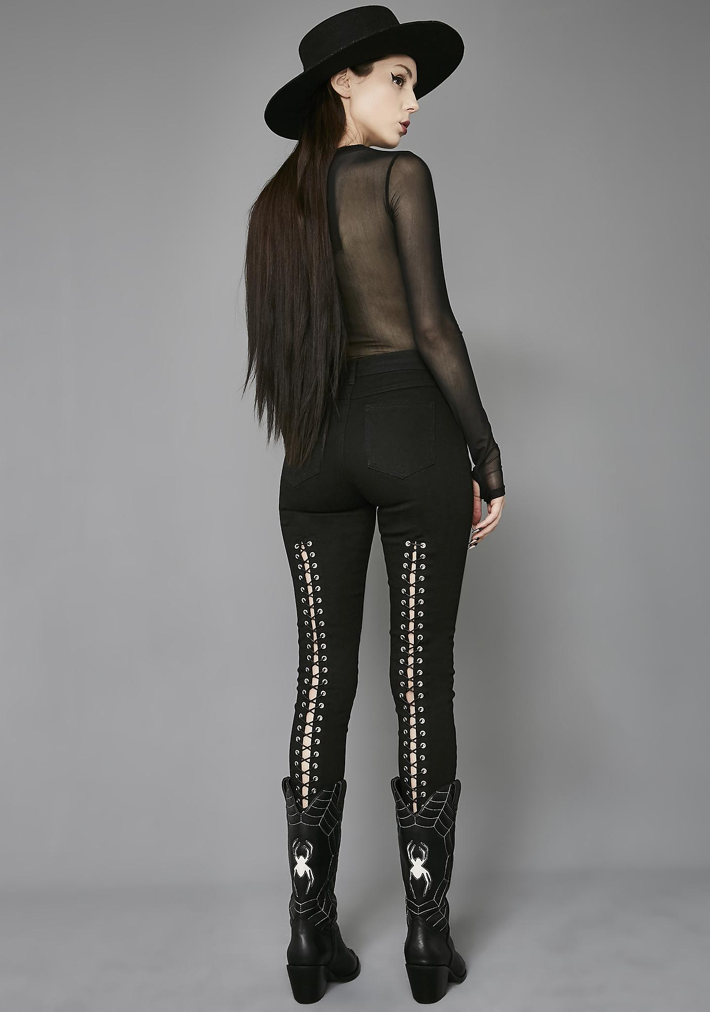 Widow Sinister Lace-Up Jeans