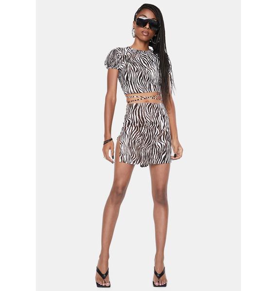 Motel Zebra Vertical Shenka Mini Skirt
