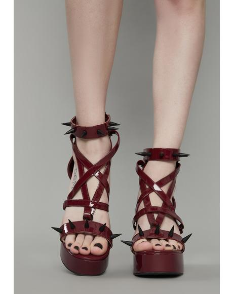 Wine Killing Me Softly Spiked Heels