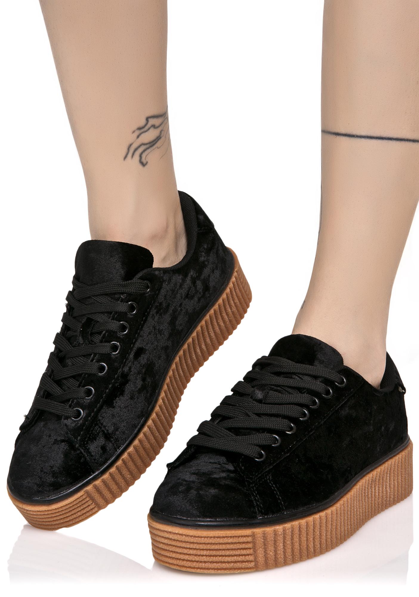 Black Crushed Creeper Sneaker