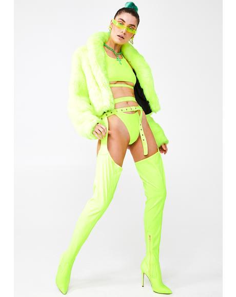 Westloop Neon Lime Chap Boots