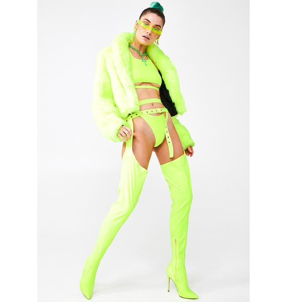 AZALEA WANG Westloop Neon Lime Chap Boots