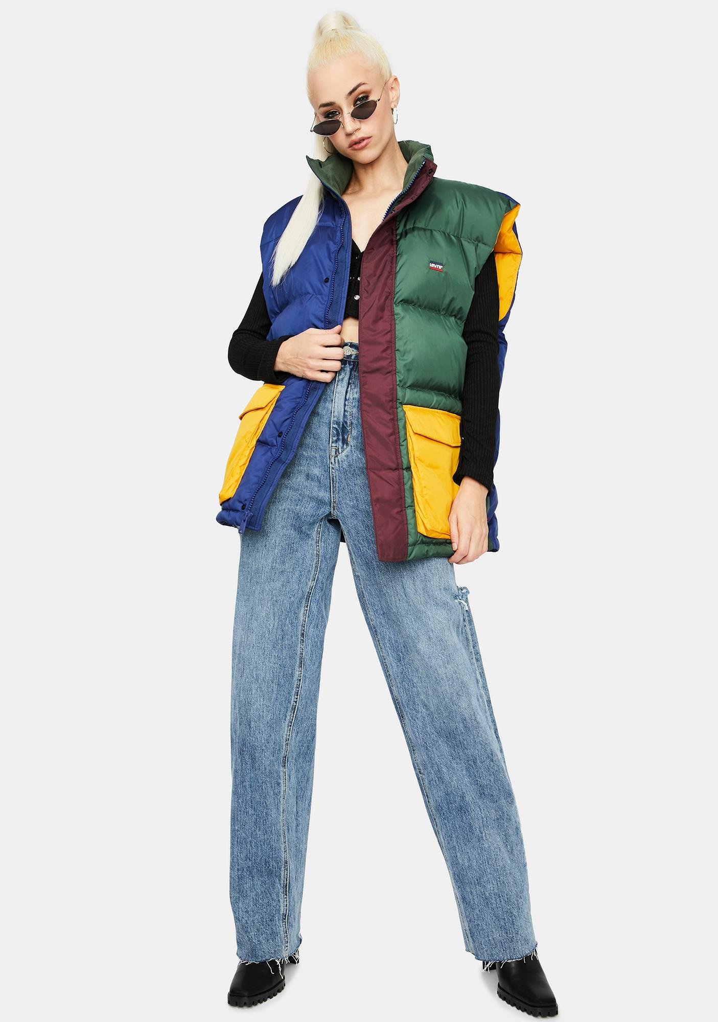 Levis Stay Loose Fillmore Color Block Puffer Vest