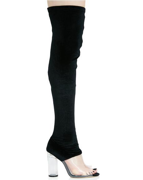 Kiara Perspex Thigh-High Boots
