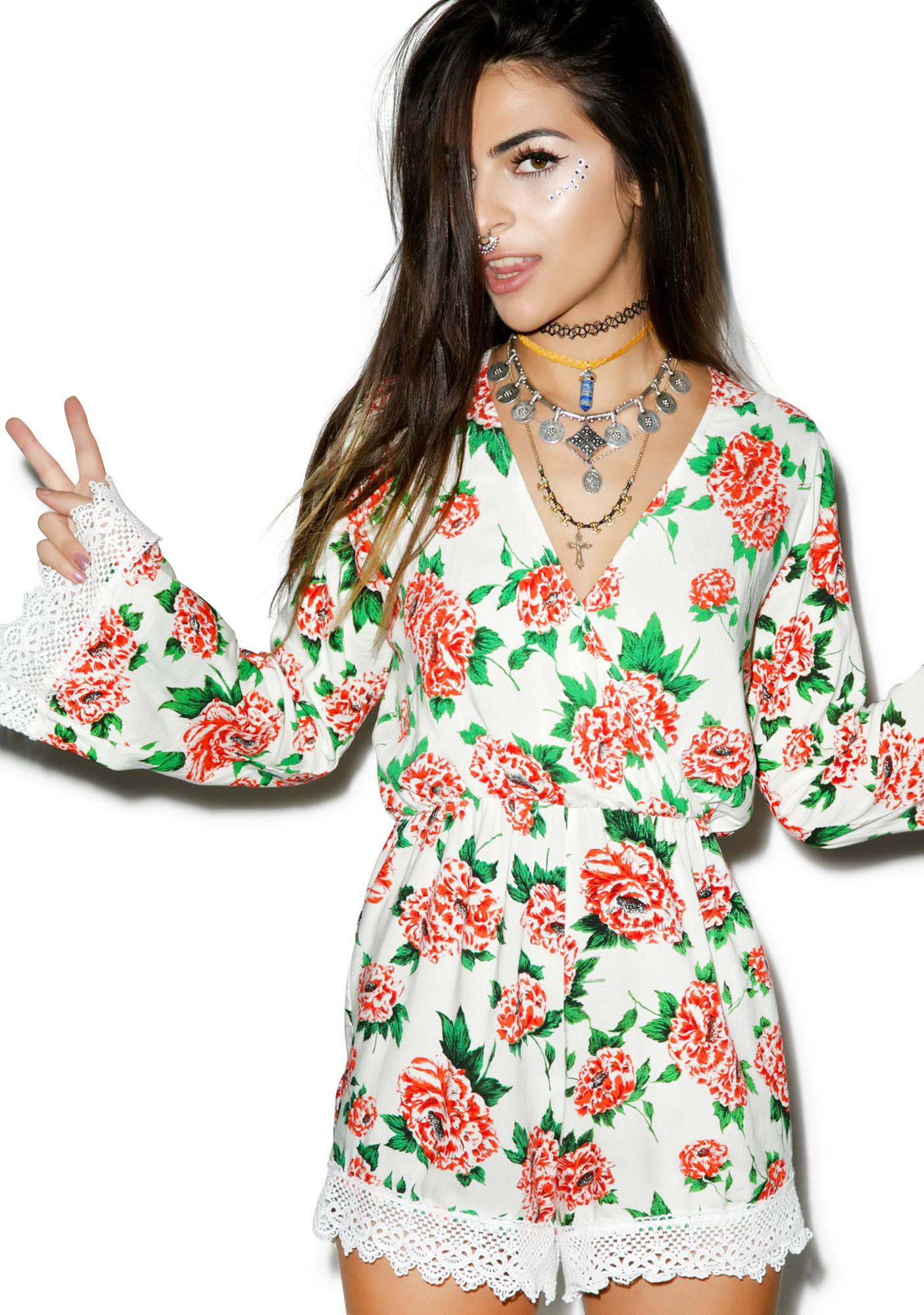 Motel Floral Bed Playsuit