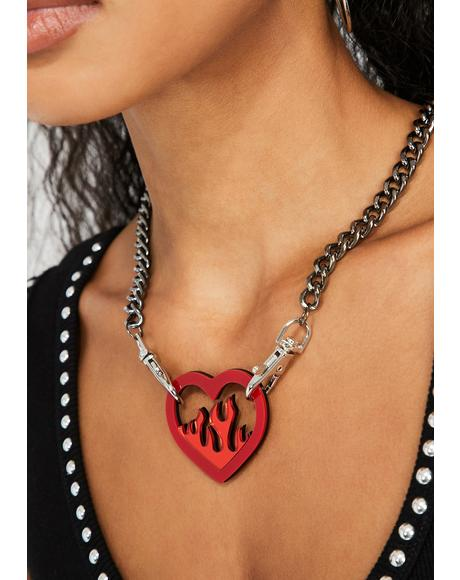 Love on Fire Heart Necklace