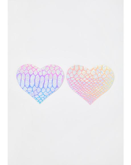 Iridescent Textured Heart Pasties