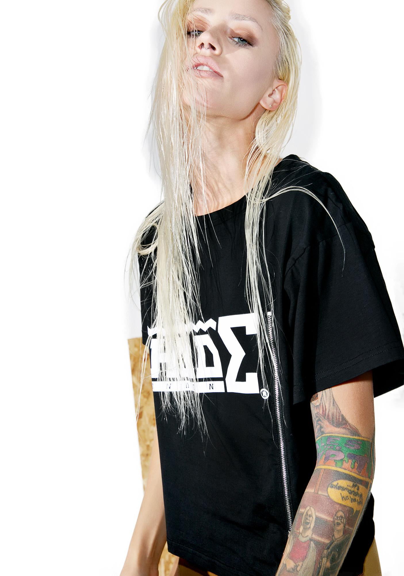 Shade London Logo Zipper Crop Tee
