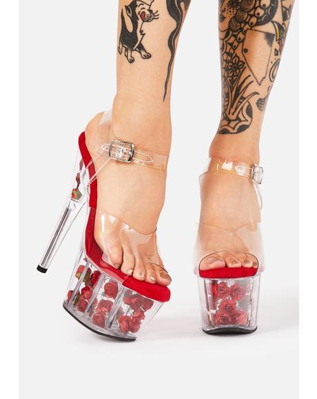 Red Nymph Queen Platform Heels