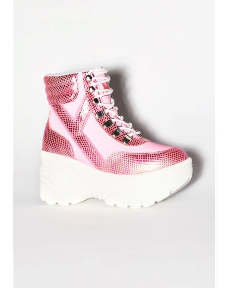 Matrixx Hi Pink Reflective Platform Sneakers
