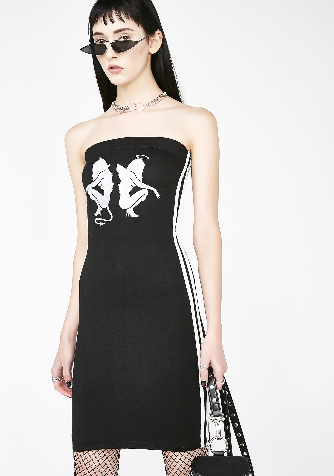 O Mighty Angel Devil Tube Dress In Black