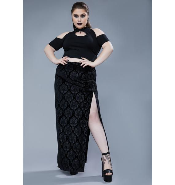 Widow Ur Too Far Gone Velvet Maxi Skirt