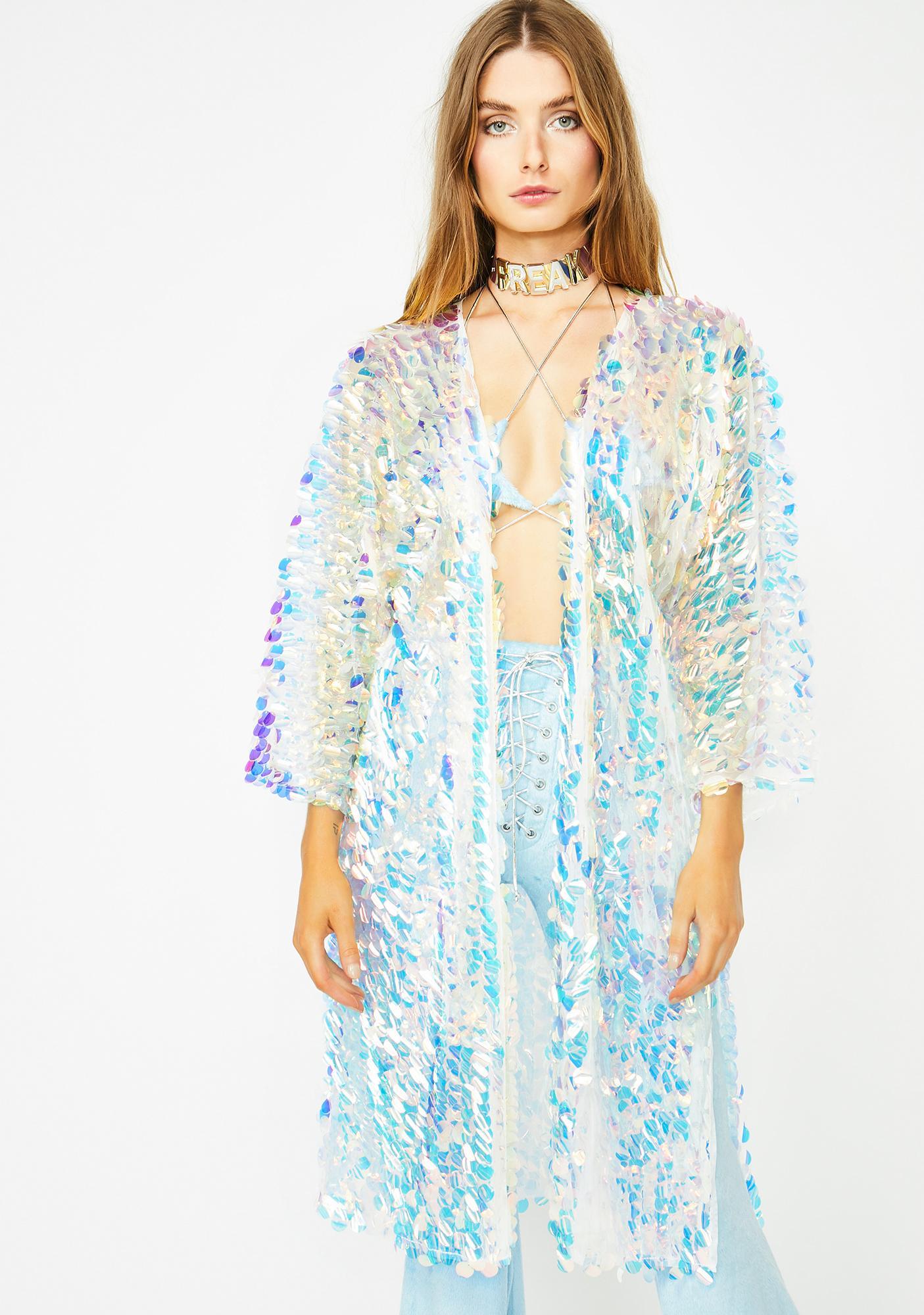 Club Exx Aqua Glimmer Goddess Sequin Kimono