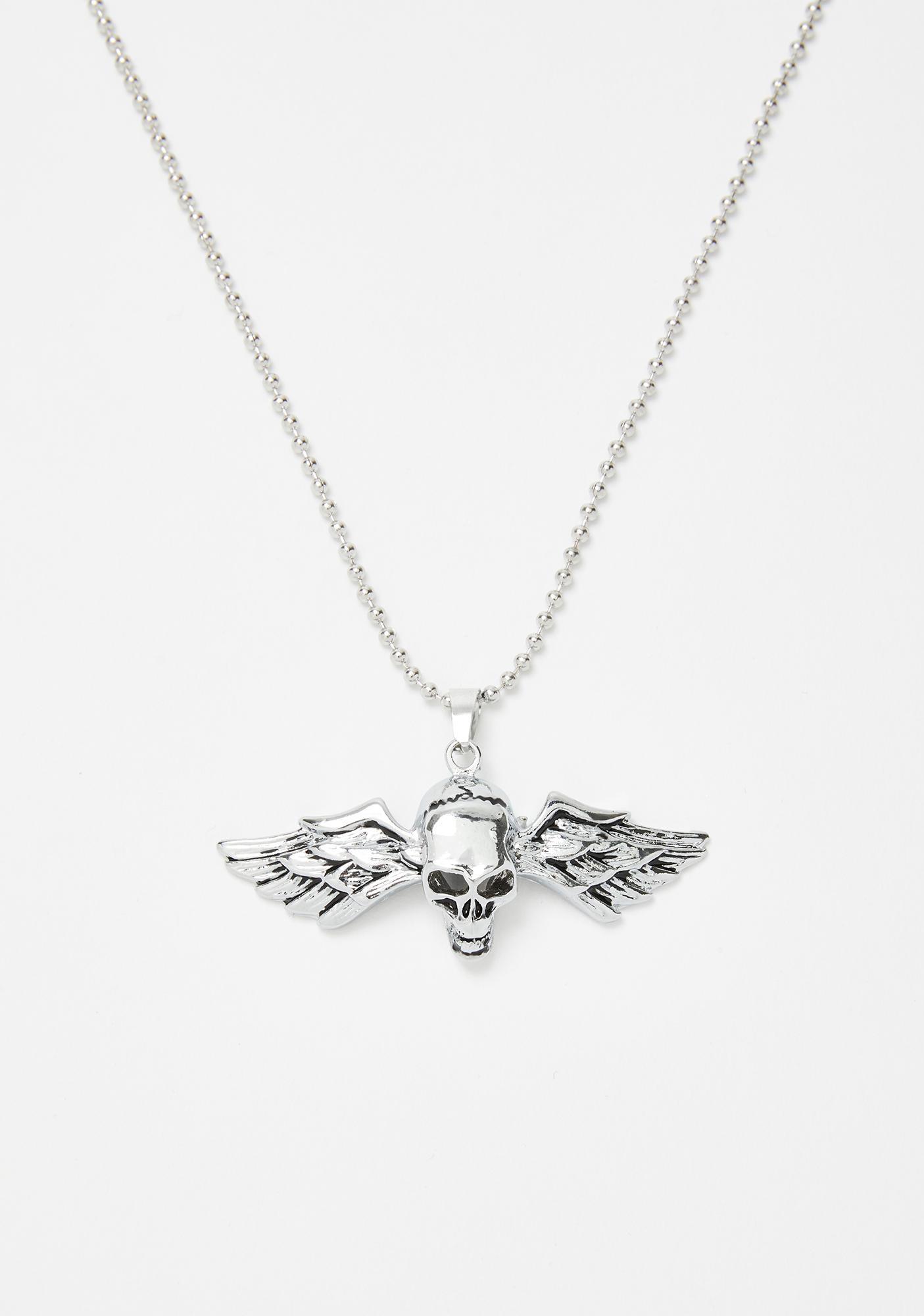 Flight To Hell Skull Necklace