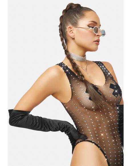 Beck And Call Rhinestone Fishnet Bodysuit
