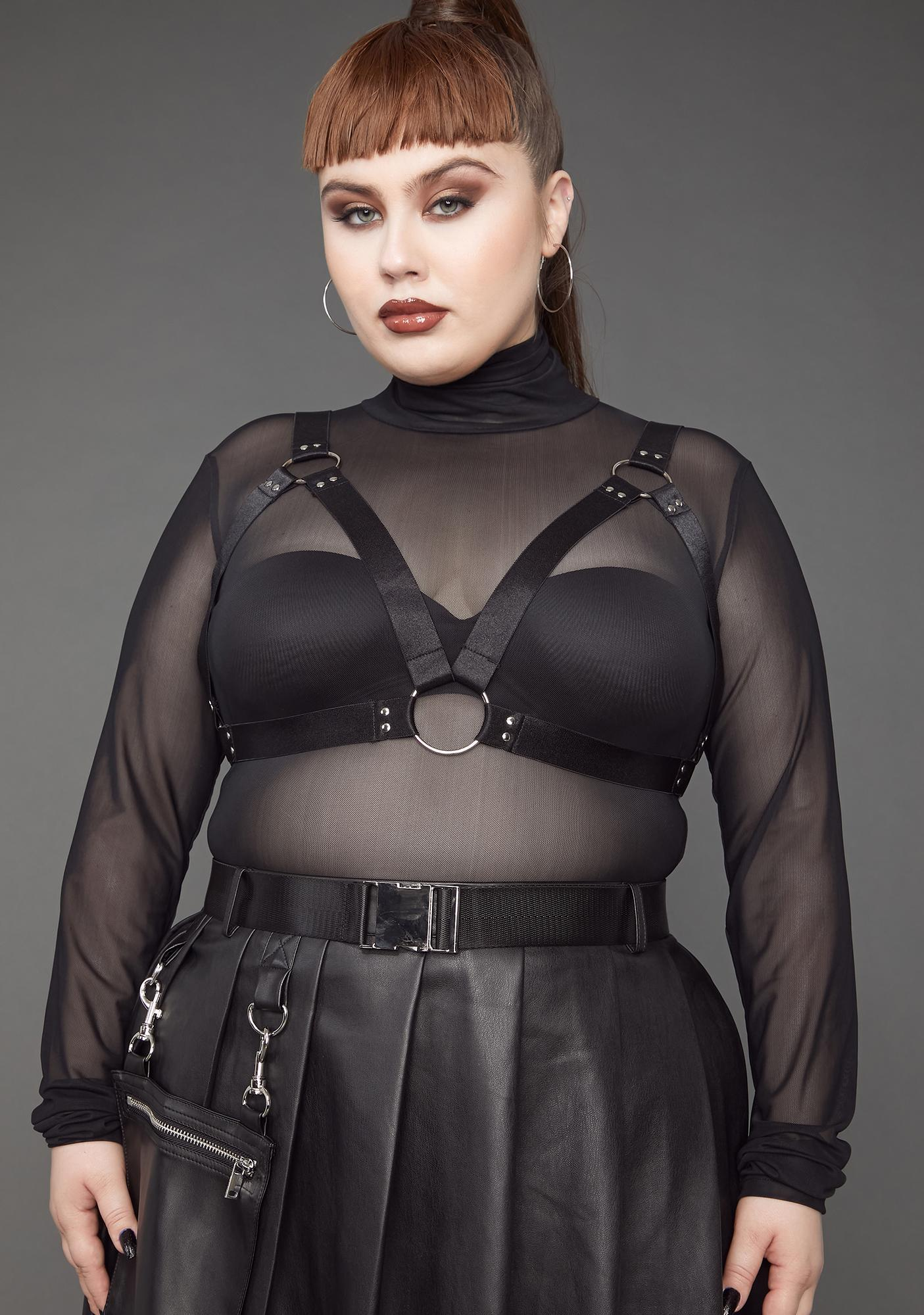 Poster Grl My Naughty Habits Mesh Top And Harness Set