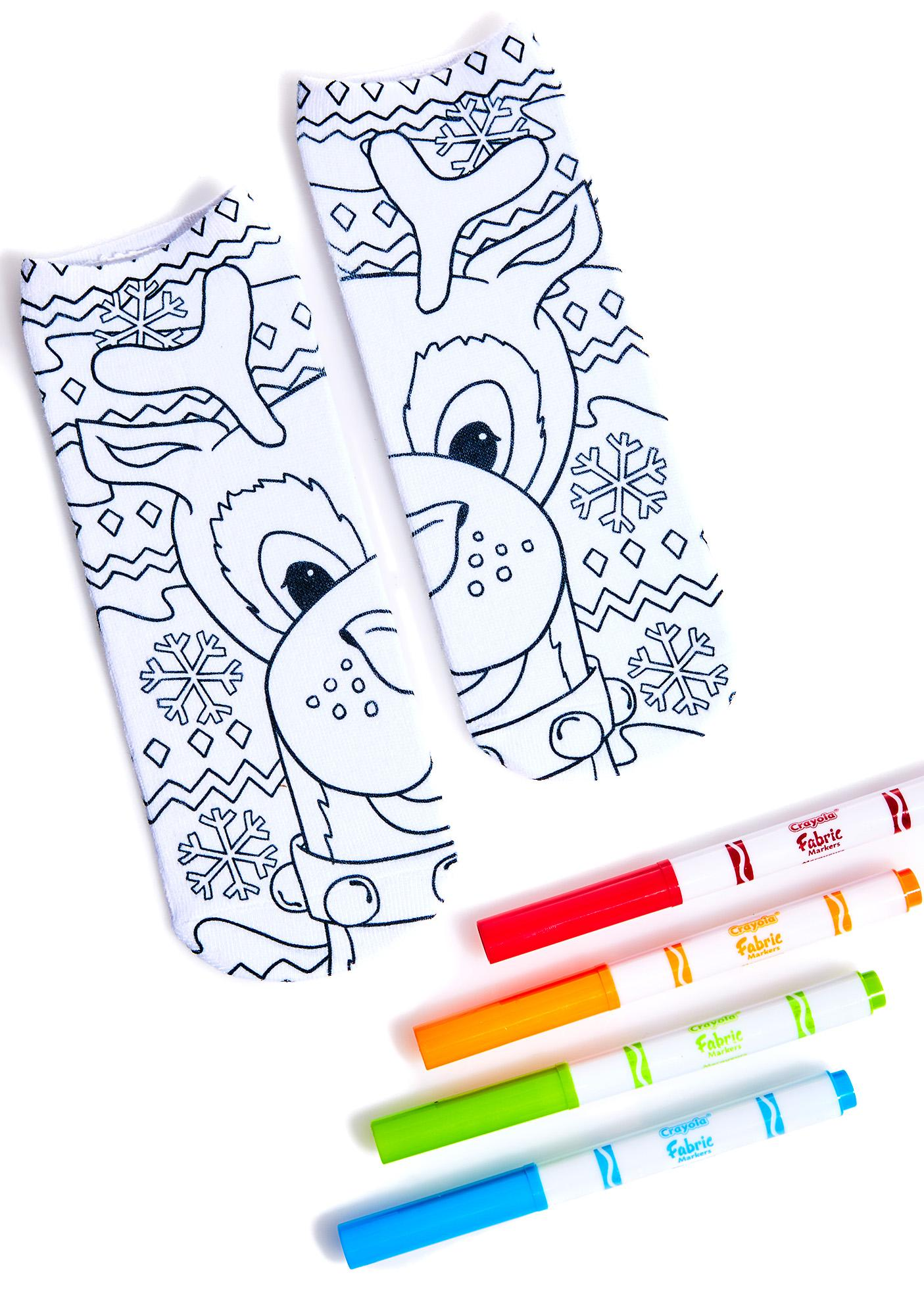 Reindeer Color-In Socks
