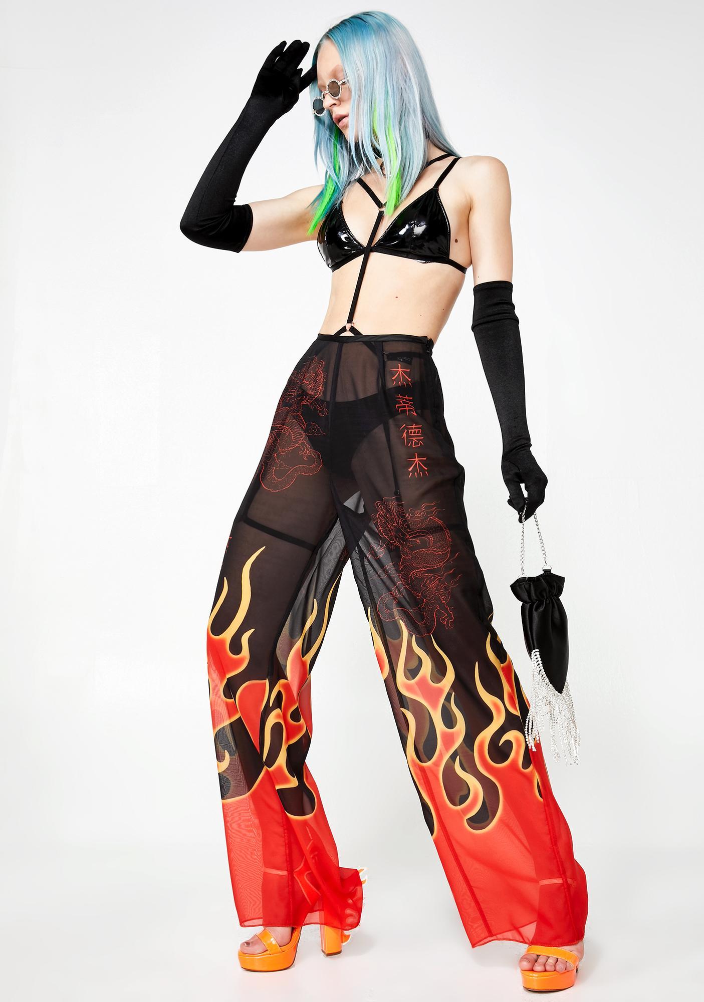 Jaded London Flame Print Beach Trousers