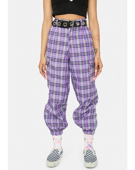 Meet Ur Match Plaid Cargo Joggers