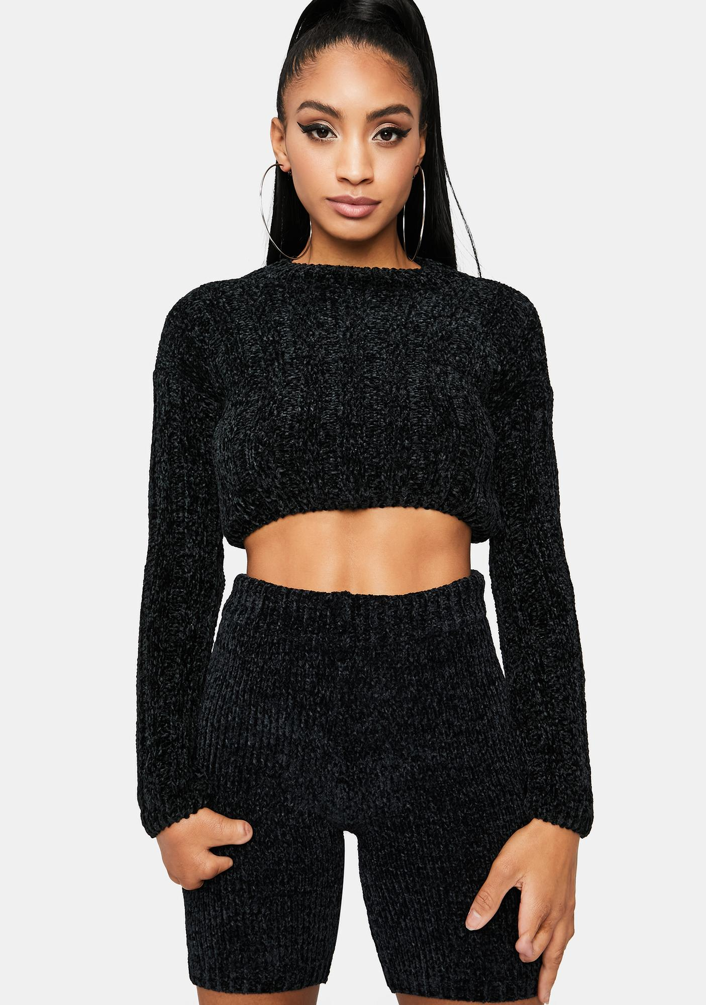 Onyx Blossom in Love Cropped Sweater