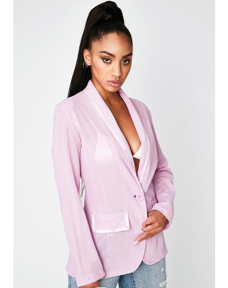 Lavender Class With Sass Mesh Blazer