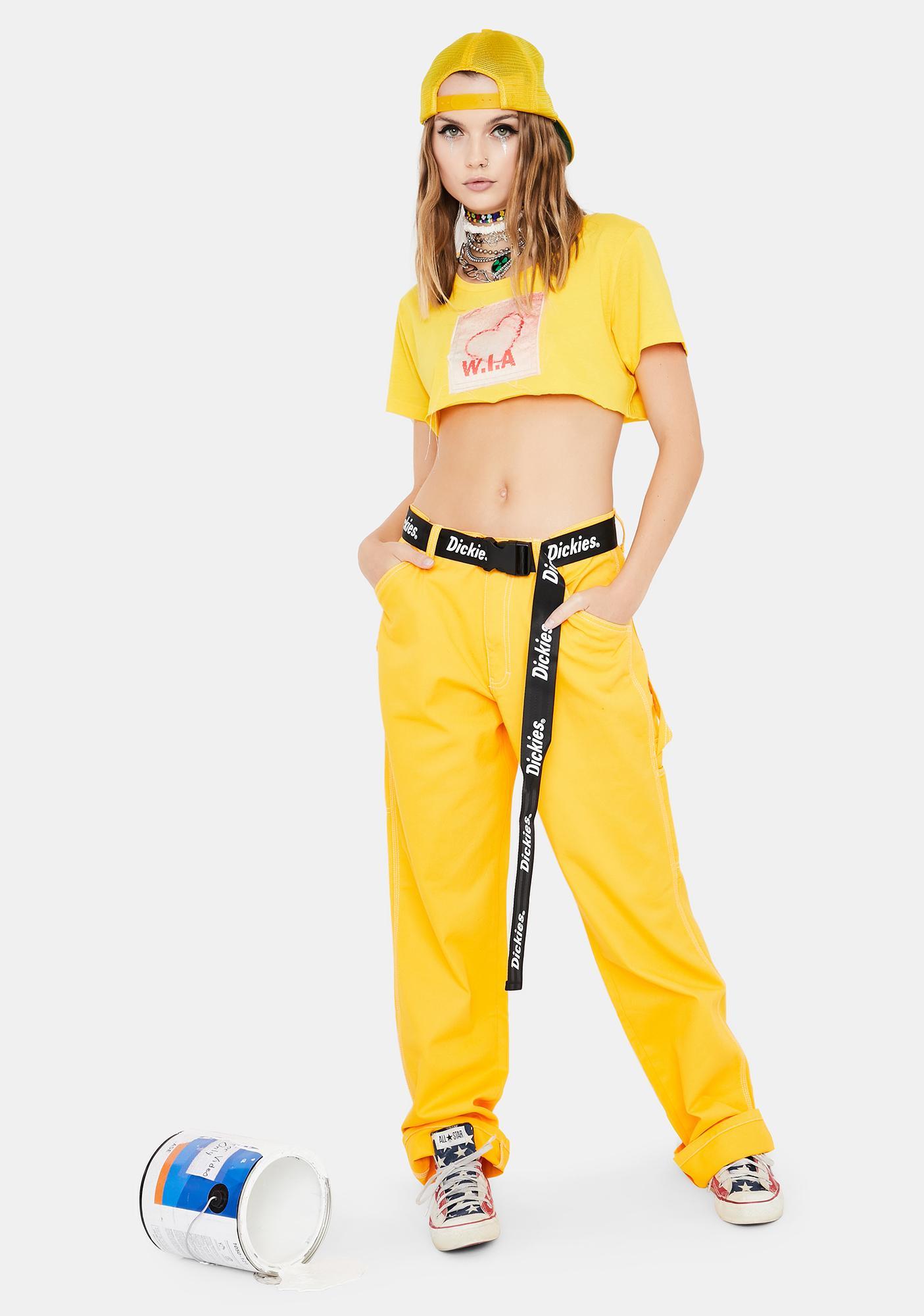 Dickies Girl Yellow Belted Carpenter Pants