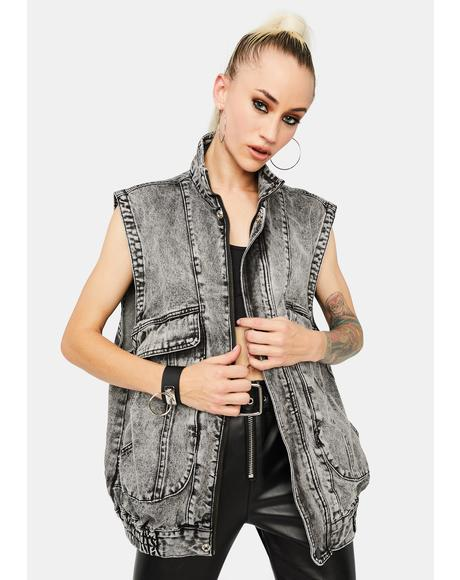 Washed Up Love Black Denim Vest