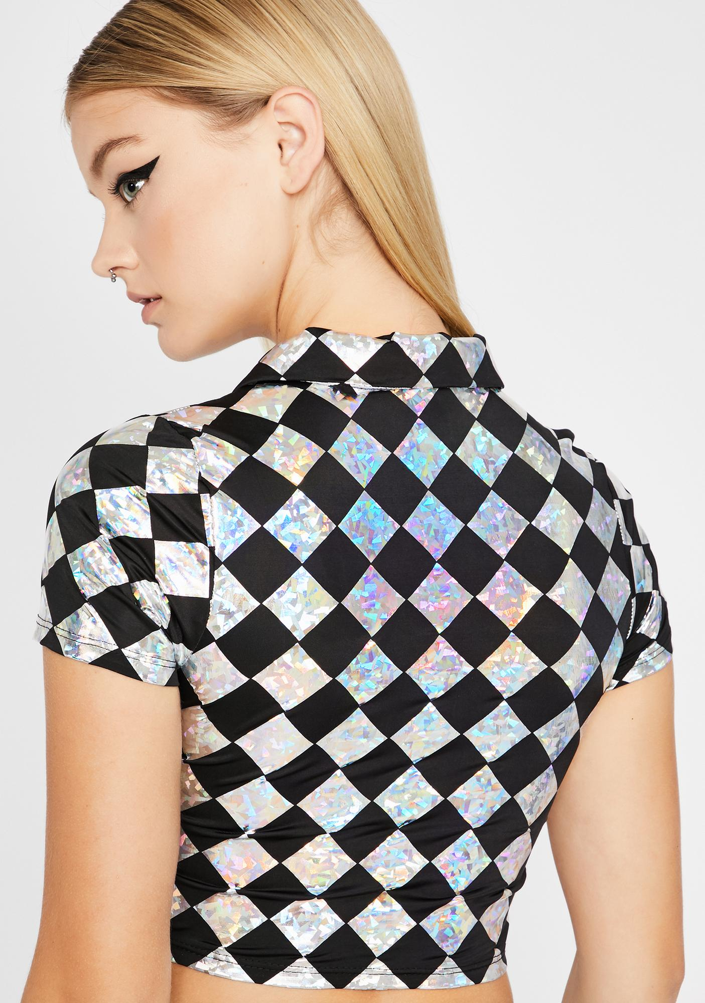 Checker Get At Me Crop Top