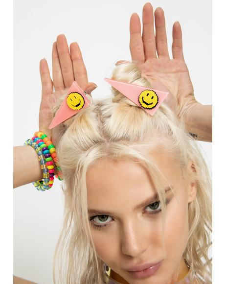 Happy Vibes Smiley Hair Clips